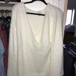 White fuzzy sweater